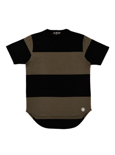 BLACK STRIPED TEE (1661) black/olive