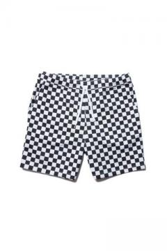CHECKER BORDER EASY SHORTS WHITE/BLACK