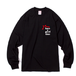 RIBBON LOGO POCKET L/S TEE BLACK