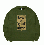 MILITARY FRAME CREW KNIT MILITARY GREEN