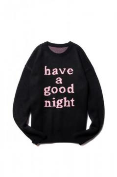 HAVE A GOOD TIME KNIT SWEATER BLACK